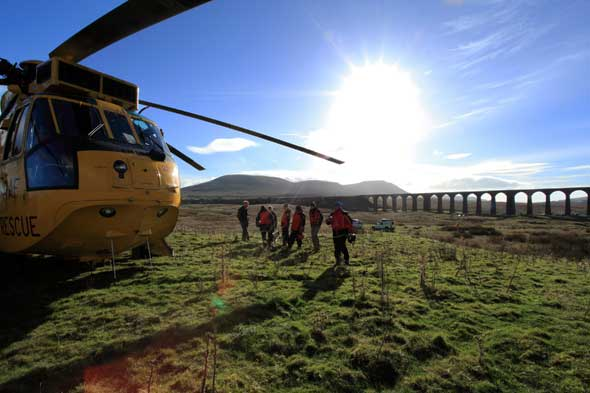 sea king helicopter and mountain rescue team